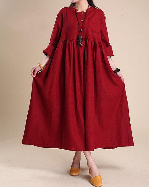 dress linen maxi dress long sleeves