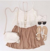 flirty,outfit,chain bag,top,skirt,bag,blouse,shoes,white crop tops,necklace,whole outfit needed,hair accessory,fluid,girl,girly,short,light,lace top,jewels,shirt,scarf,tank top,white top