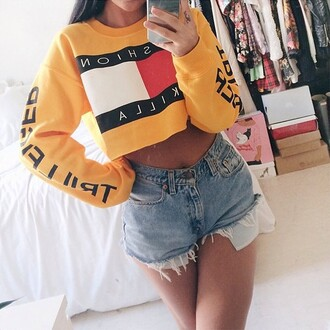 yellow yellow sweater jaune tommy hilfiger similar cropped sweater