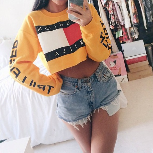 7d8f01bbaf1 yellow, yellow sweater, jaune, tommy hilfiger, similar, cropped ...