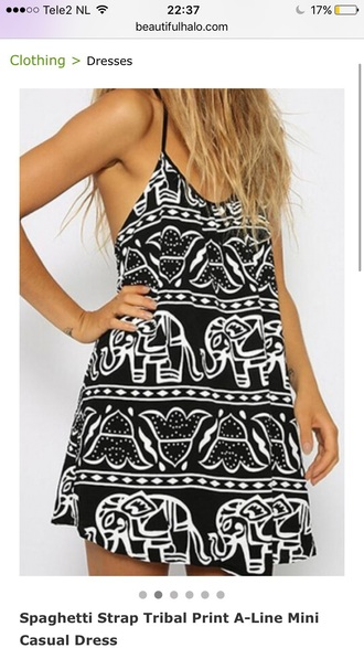 dress casual girly elephant trendy cool black dress black and white summer spring beach beautifulhalo