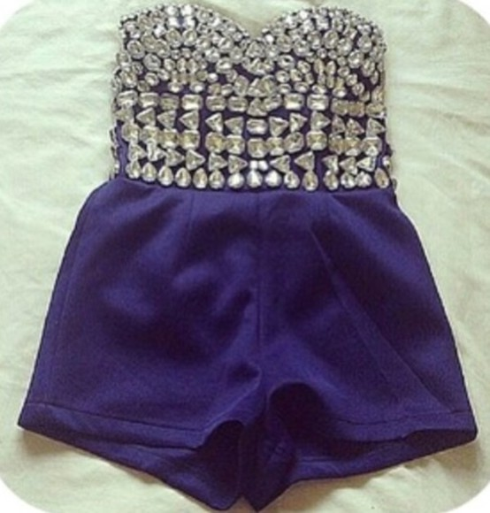 playsuit romper dress gems blue formal formal romper