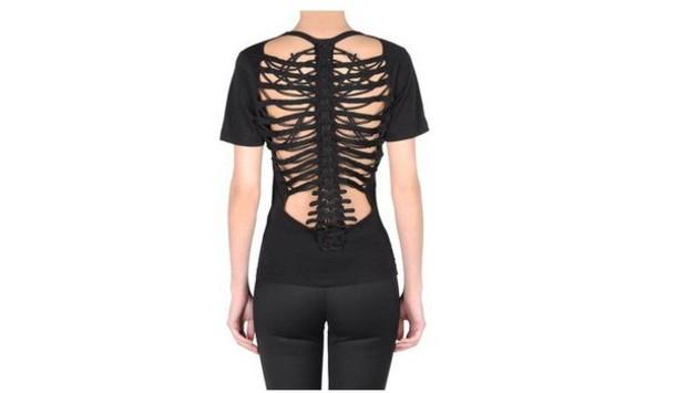 shirt skull open back goth black dark skeleton