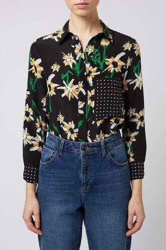 shirt daisy polka dots spring floral printed shirt daisy print shirt