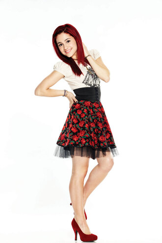dress ariana grande flowers red high heels red heels skirt floral skirt white blouse