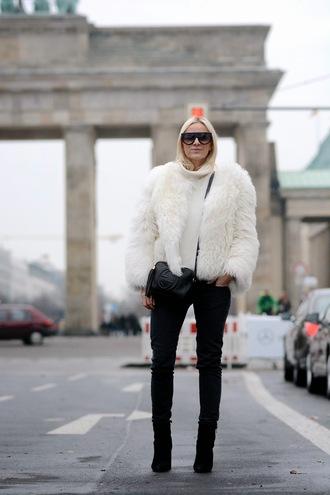hippie hippie milkshake blogger faux fur white jacket shorts jeans coat sunglasses jacket bag white fur jacket turtleneck turtleneck sweater white sweater gucci gucci bag tassel crossbody bag