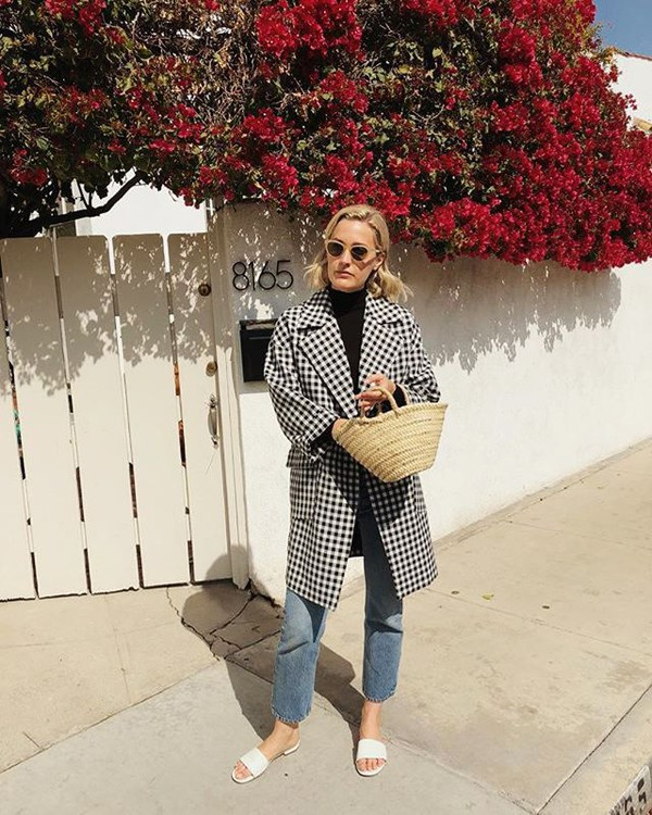 coat gingham pattern gingham black and white jeans denim white shoes white sandals sandals basket bag sunglasses black turtleneck top