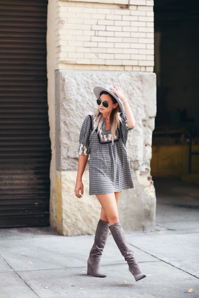 Dress: blogger, hat, shoes, knee high boots, grey boots, grey ...