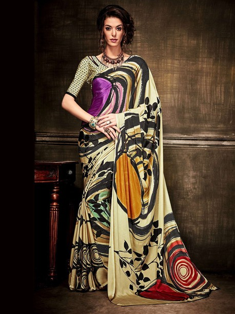 blouse printed saree casual saree ethnic wear women clothing indian clothing