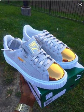 shoes blue creepers puma puma sneakers puma x rihanna gold