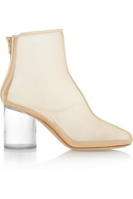 New Arrival Maison Martin Margiela Leather trimmed mesh and Perspex boots Line 22 Transparent sole high heel Sheer ankle booties-inSandals from Shoes on Aliexpress.com