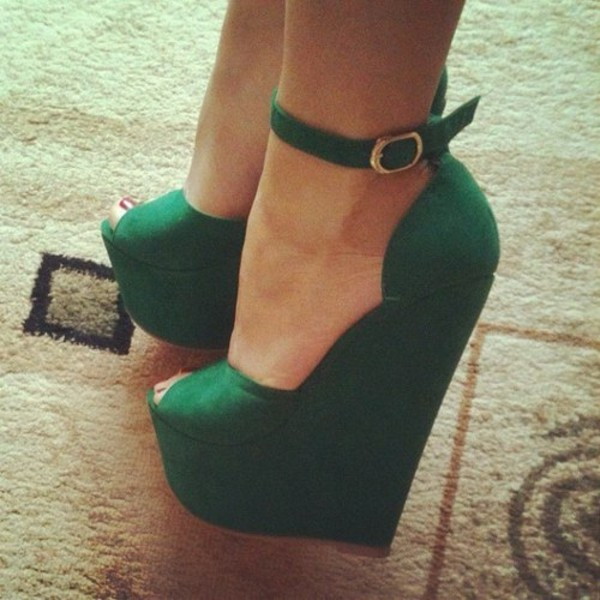 shoes wedges heels green emerald green pretty peep toe ankle strap high heels forest green straps wedges high tall beautiful sex sexy emerald green scalloped fashion dress