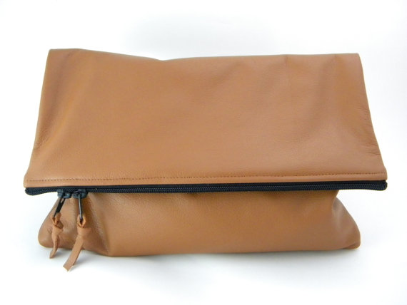 Color Me Foldover Leather Statement Clutch by lovecortnie on Etsy