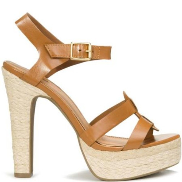 Shoes: tan, heels, high heels, sandals - Wheretoget