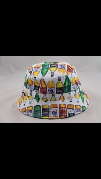 hat bucket hat alcohol white water bottle