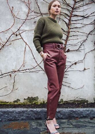 pants sweater blogger instagram pernille teisbaek spring outfits sandals leather leather pants