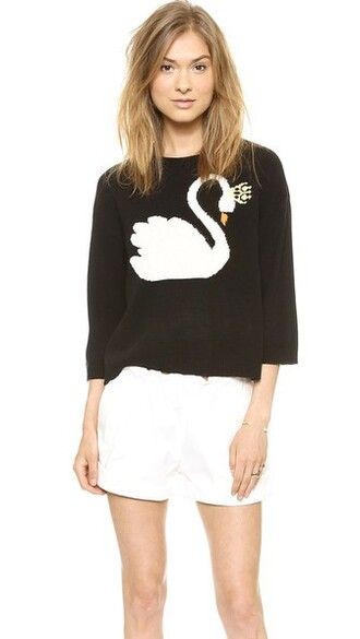sweater swan sweater swan queen black black and white cashmere cashmere jumper red valentino