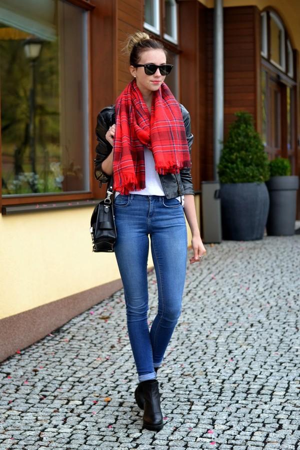 vogue haus t-shirt jacket jeans shoes bag sunglasses scarf jewels