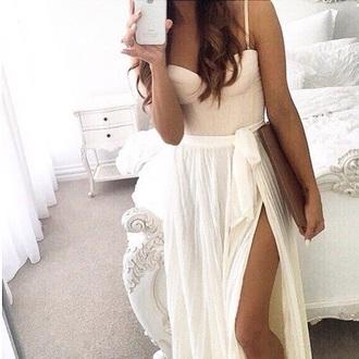 dress lazy day skirt top bustier style weheartit silk maxi skirt white skirt slit maxi skirt