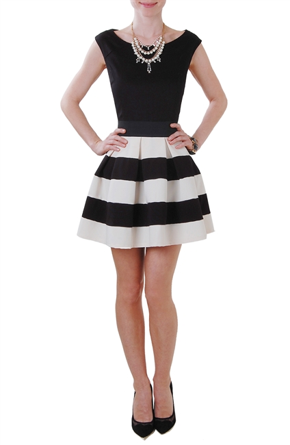Carrie Skirt - Fit and Flare Striped Mini Skirt - Humblechic.com