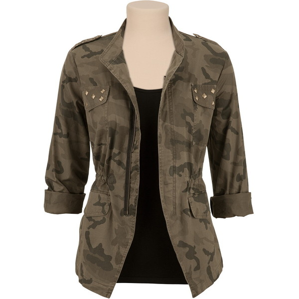 Studded Camo Military Jacket - Polyvore