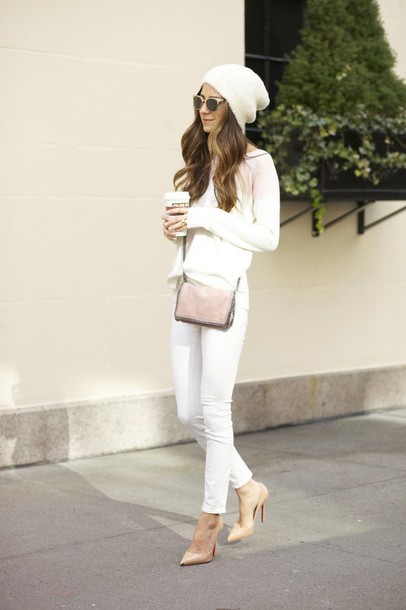 something navy blogger sweater sunglasses white jeans beanie nude high heels jeans shoes bag hat