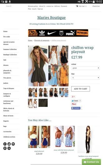 jumpsuit romper clothes green orange blue sexy mini summer mini jumpsuit v neck plunge