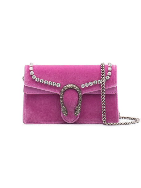gucci cross mini women bag leather velvet purple pink