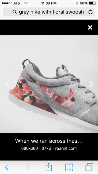 huge selection of 691ef 048fc grey nike gym shoes with floral swoosh