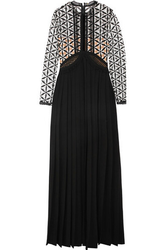gown pleated lace black dress