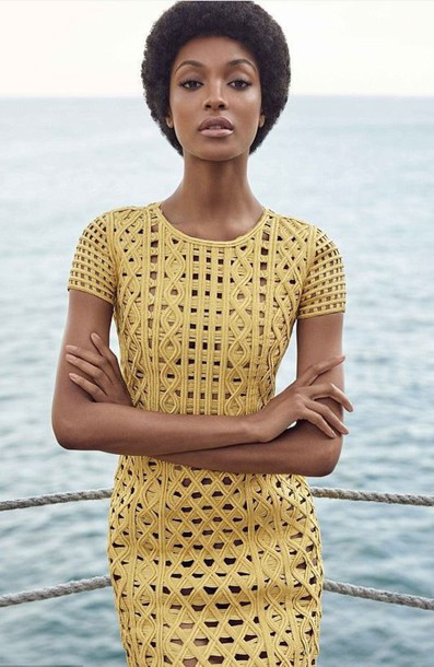 dress yellow yellow dress editorial jourdan dunn model summer dress