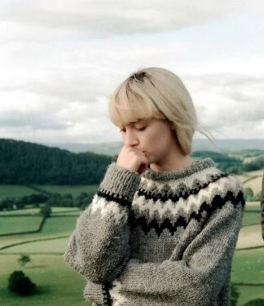 Sweater: saoirse ronan, grey black and white, fair isle, how i ...