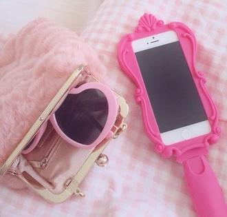bag pink fluffy soft cute purse pouch coin purse