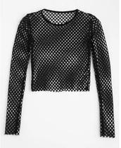 blouse,girly,black,mesh,mesh top,long sleeves,crop tops,crop,cropped