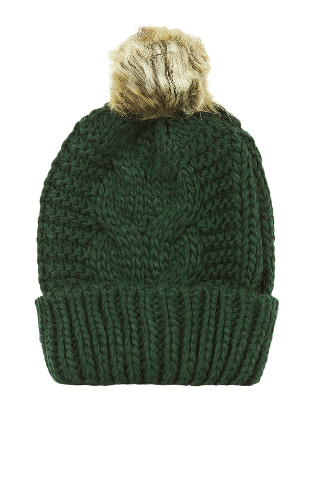 Cable faux fur pom beanie