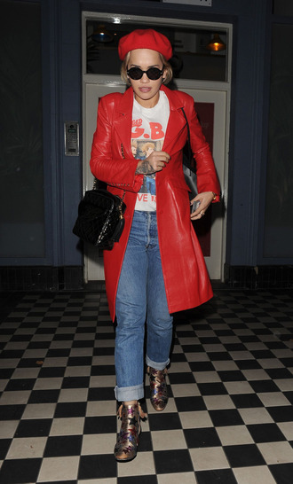 coat jeans rita ora hat ankle boots fall outfits red coat