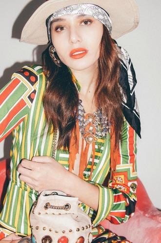 natalie off duty blogger hat dress bag jewels