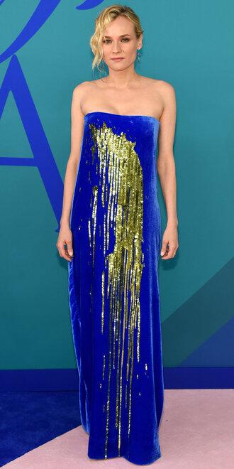 dress maxi dress blue dress gold dress diane kruger strapless velvet dress cfda
