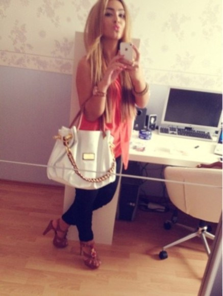 white bag bag blouse shirt coral pink red coral top coral shirt high heels brown heels kiss outfit summer outfit spring big city shoes