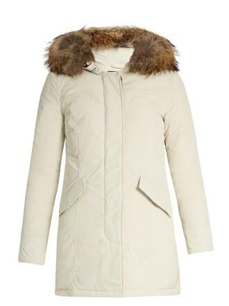 parka fur luxury cream coat