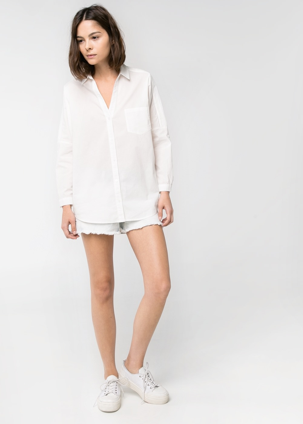 Cotton oversize shirt -  Trousers - Women - MANGO