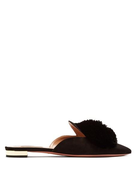 Aquazzura backless flats suede black shoes
