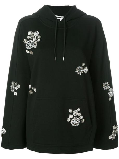 hoodie metal women plastic embellished cotton black sweater