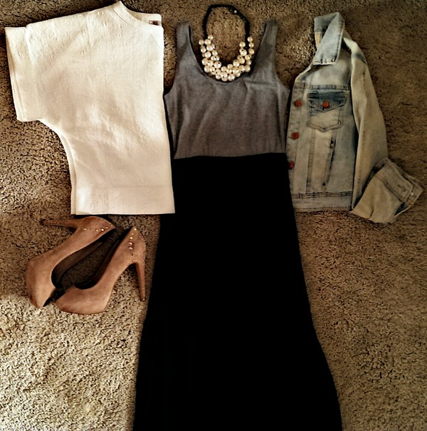 dress h&m maxi dress zara jacket zara jewels shoes high heels summer outfits cute outfits fashion clothes denim jacket leather white friday jacket shirt