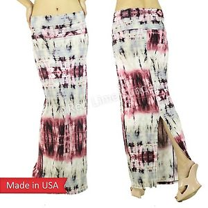 New Back Slit Tie Dye Red Gray Color Blue Boho Hippie Gypsy Long Maxi Skirt USA