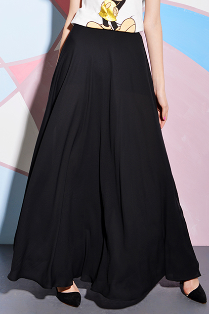 Side Split High-waisted Black Maxi Skirt, The Latest Street Fashion
