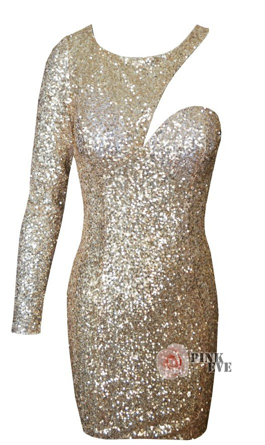 Free shoping NEW ARRIVALS Fashion shoulder long sleeve cut out gold sequins sexy dress. Party Dress  TB 5069-in Apparel & Accessories on Aliexpress.com
