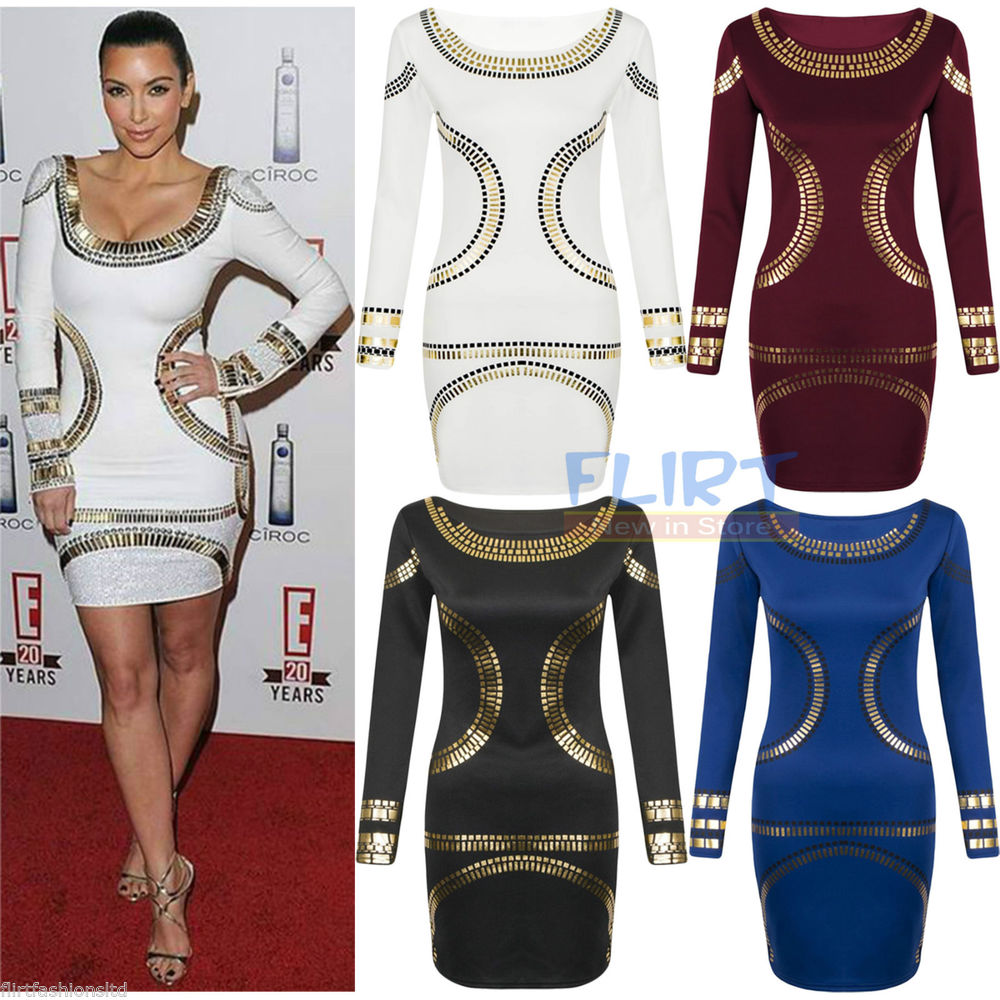 Womens Gold Foil Mini Dress Celebrity Kim Kardashian Bodycon Tunic Short MIDI | eBay