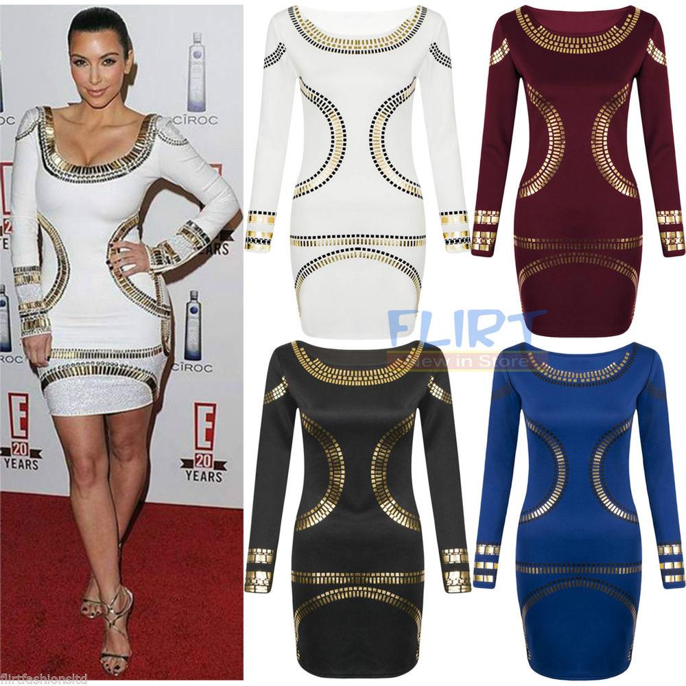 258347096a0 Womens Gold Foil Mini Dress Celebrity Kim Kardashian Bodycon ...