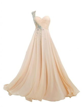 dress prom prom dress chiffon gemstone peach dress long dress long prom dress one shoulder sleeveless heart dress